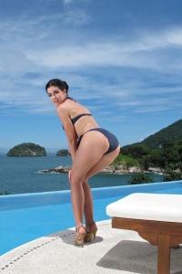 April Blue,hairy micro bikini